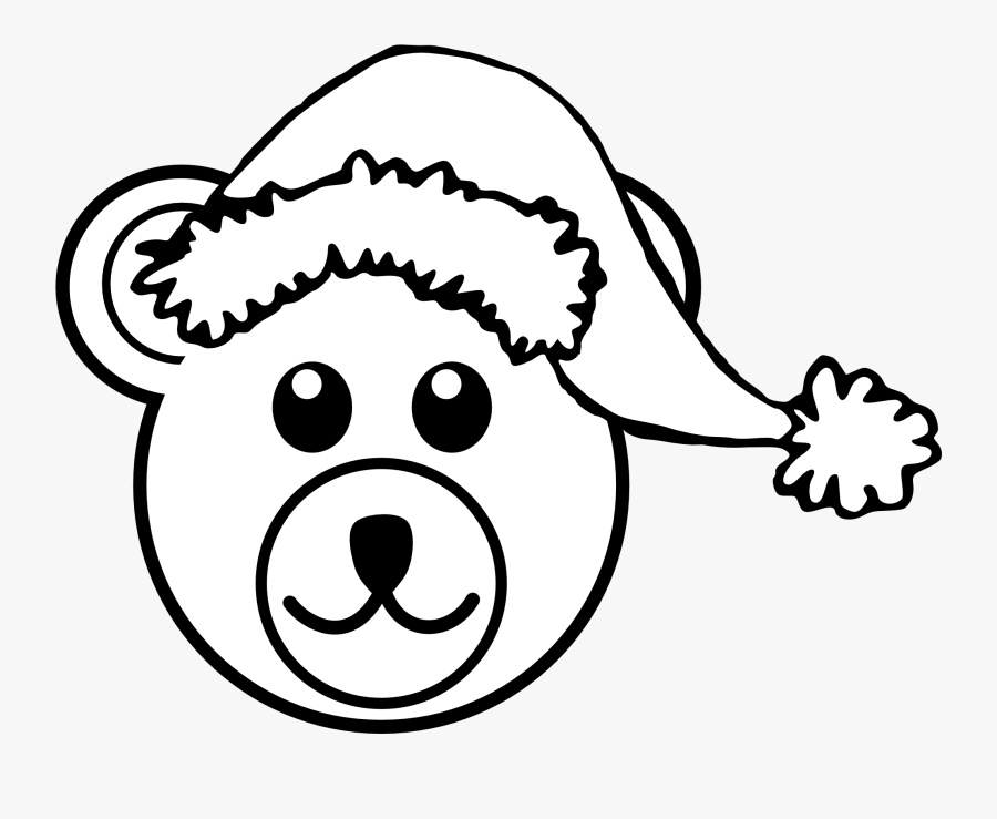 Bear 3 Head Brown With Santa Hat Black White Line Art - Animal Face Mask Drawing, Transparent Clipart