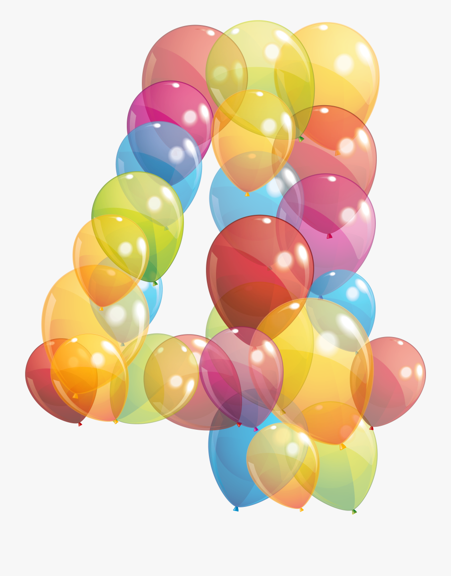 Balloon Number Clipart - Number 4 Balloon Png, Transparent Clipart