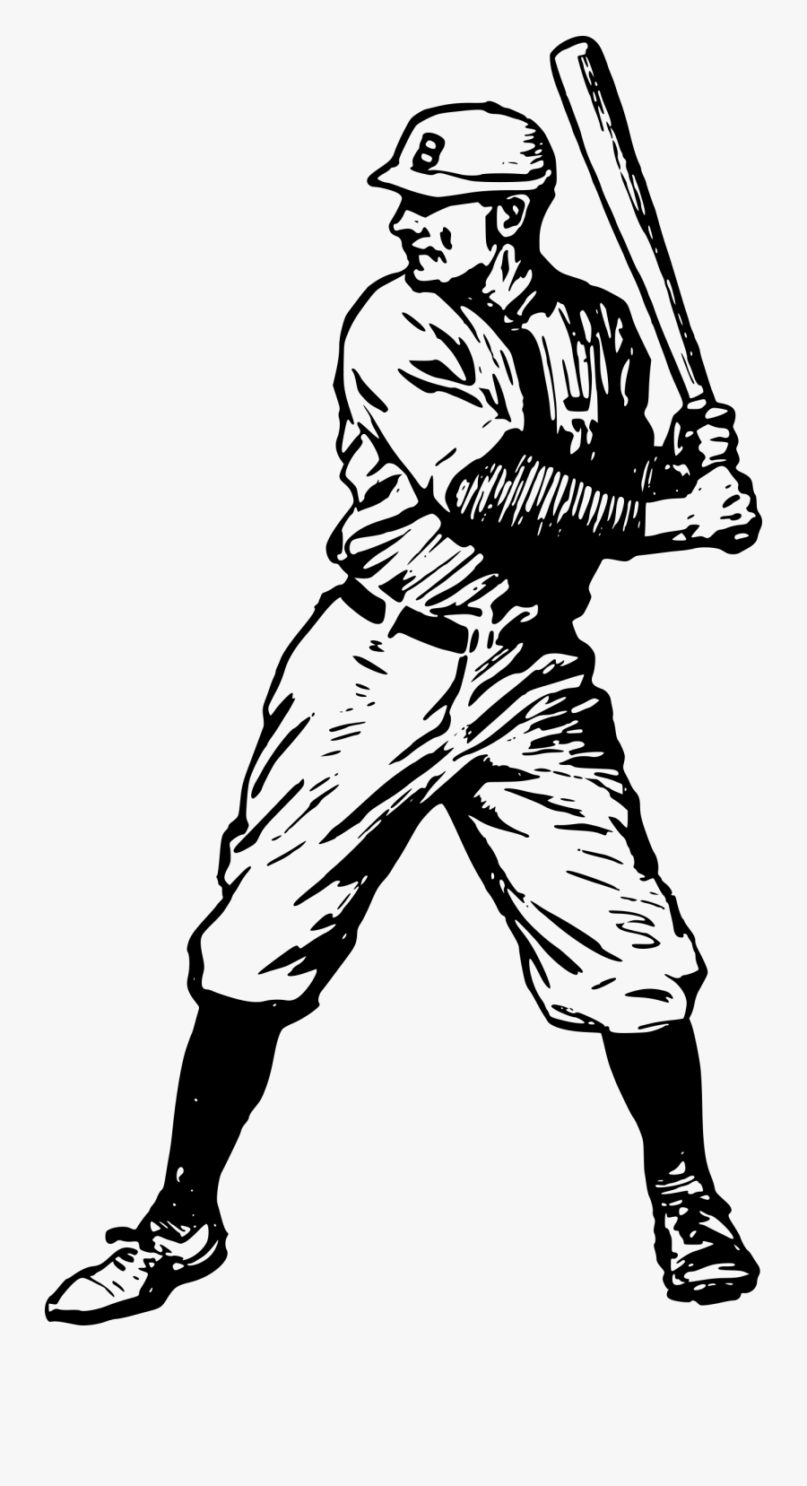 Baseball Player - Vintage Baseball Clip Art, Transparent Clipart