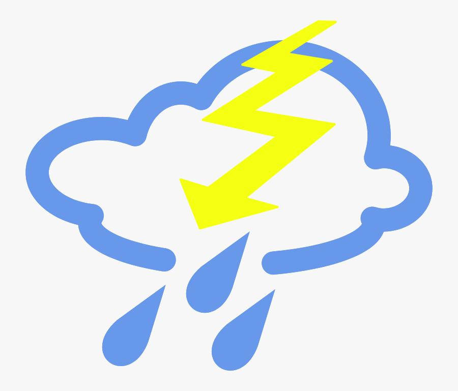 Thunder Storms Weather Symbol Clip Art - Weather Symbols Storm, Transparent Clipart