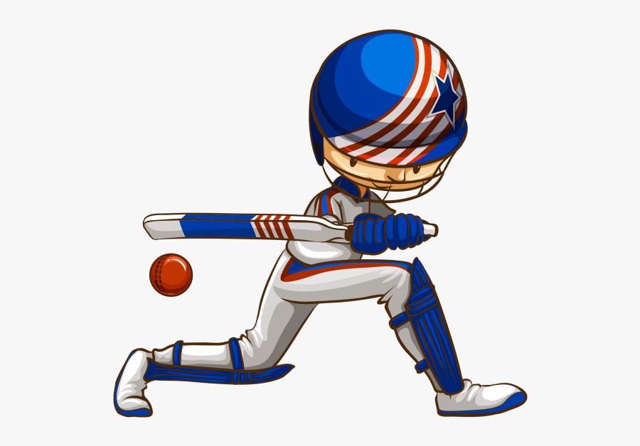 Cartoon Cricket Ball And Bat , Transparent Cartoons - Different Sport Court, Transparent Clipart