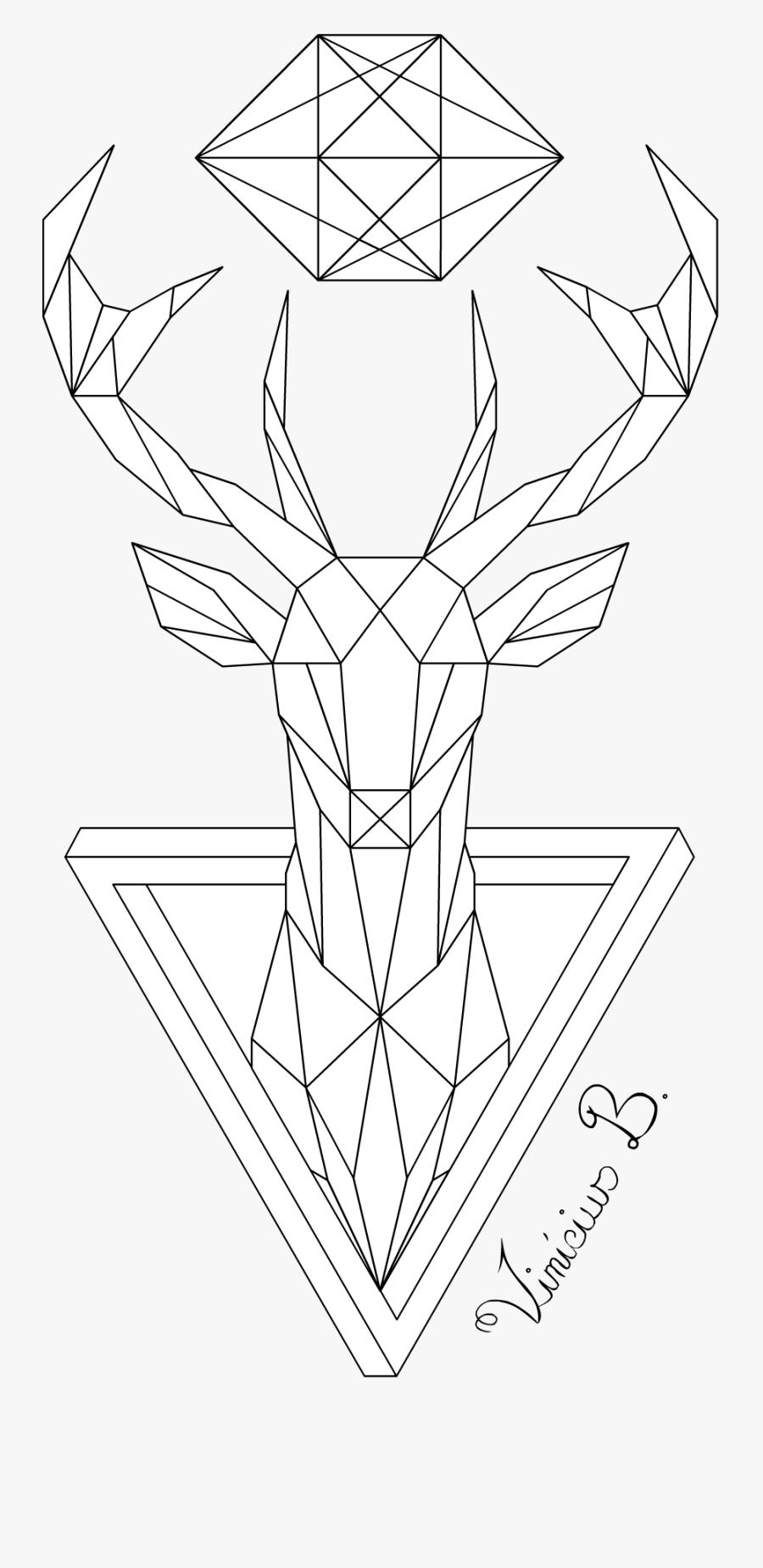 Geometrical Drawing Wild Animal - Deer Drawing Geometric, Transparent Clipart