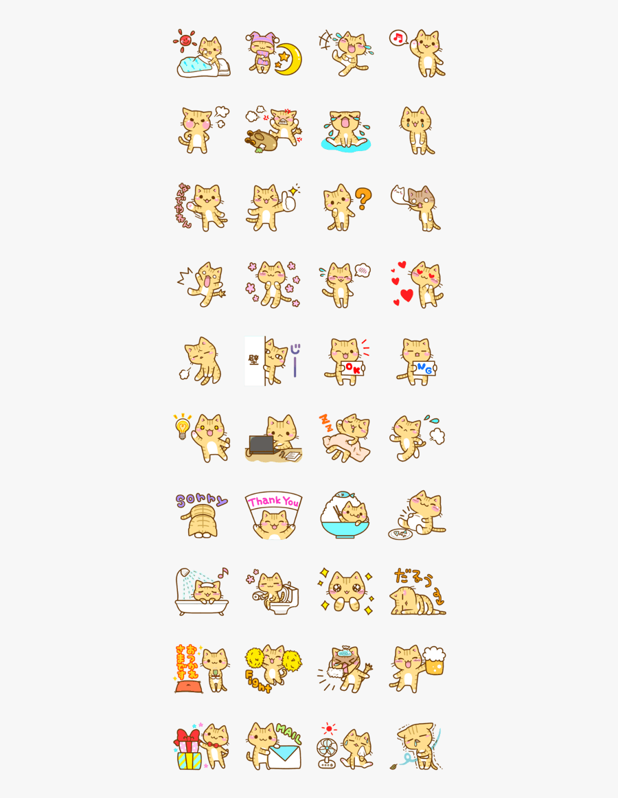 Japanese Stickers Line Cats, Transparent Clipart
