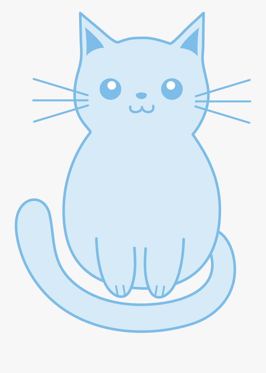 Kittens Clipart Blue Cat - Cute Blue Cartoon Cat, Transparent Clipart