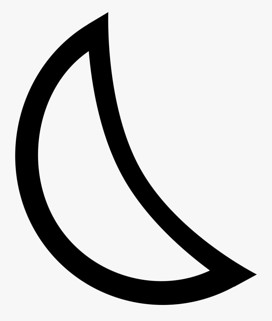 Line,font,clip Art,black And White,symbol - Crescent Moon Outline Shape, Transparent Clipart