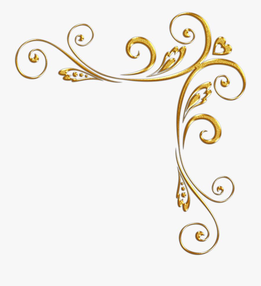 Clip Art Corner Designs - Gold Corner Border Design, Transparent Clipart