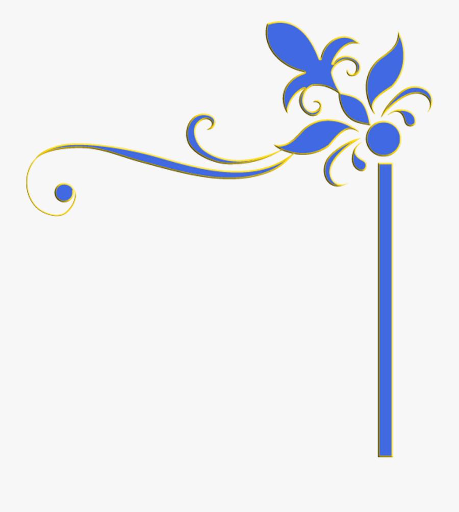 #decoration #border #edge #frame #blue #yellow #flowers - Flower Edge Border Design, Transparent Clipart