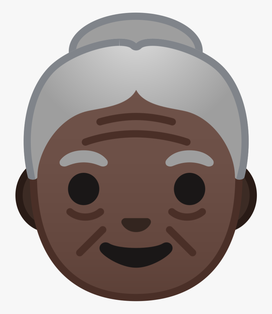 Old Woman Dark Skin Tone Icon - Old Woman Emoji Png, Transparent Clipart