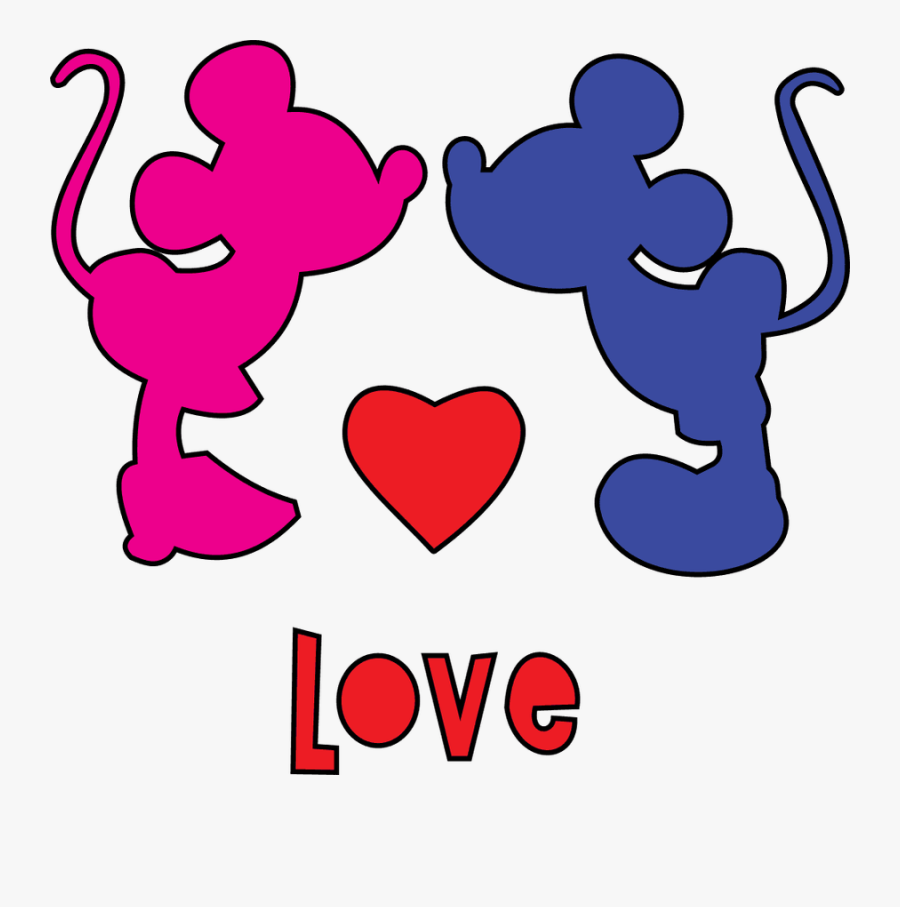 Love Text Clipart Minnie Mouse - Vector De Mickey Mouse Y Minnie, Transparent Clipart