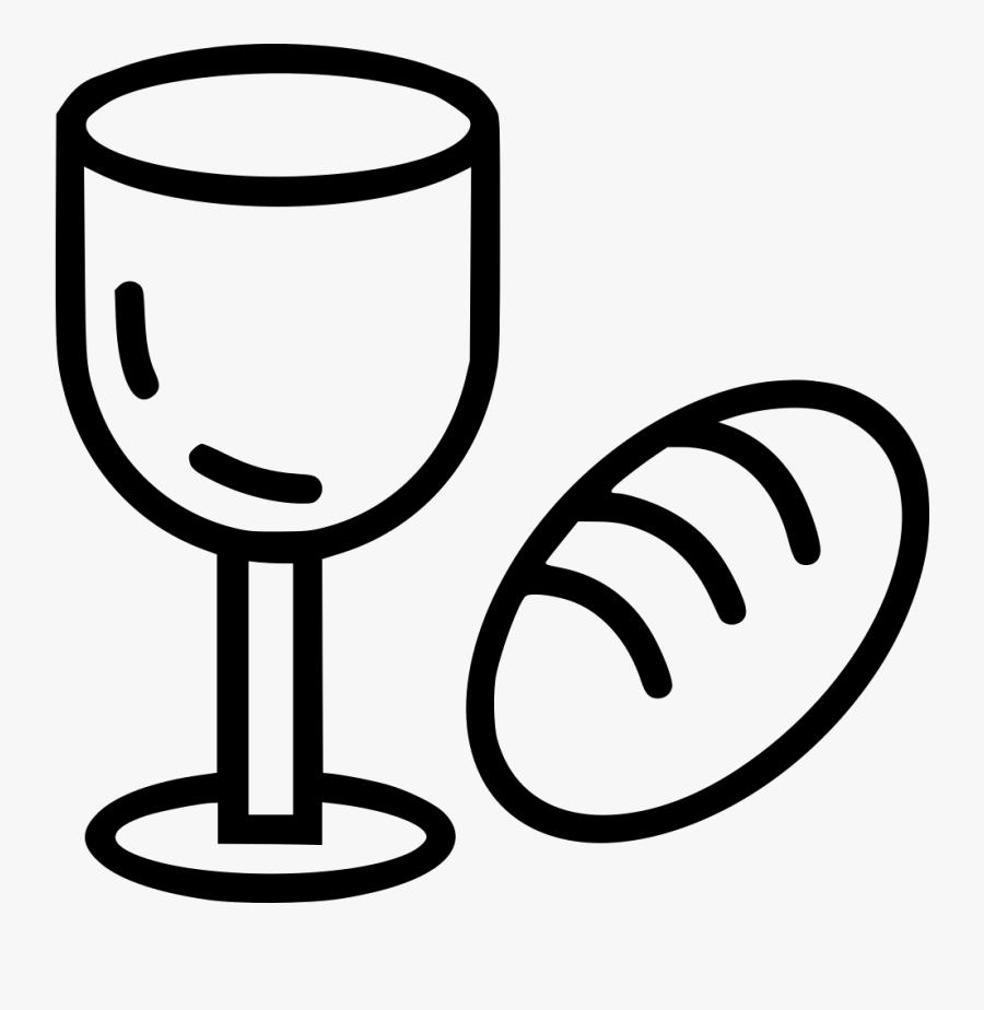 Wine Clip Bread - Bread And Wine Clipart Black And White, Transparent Clipart