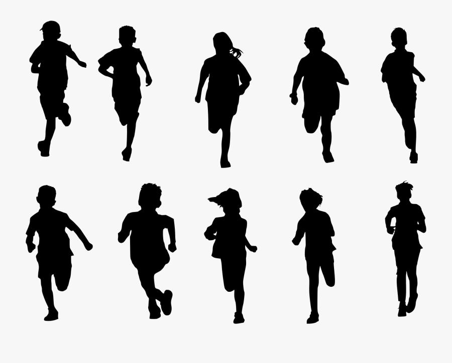 Portable Network Graphics Silhouette Clip Art Vector - Children Running Silhouette, Transparent Clipart