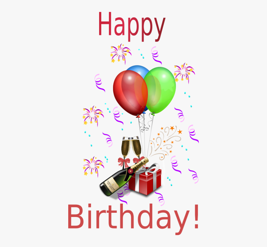 Happy Birthday Balloons Champagne, Transparent Clipart