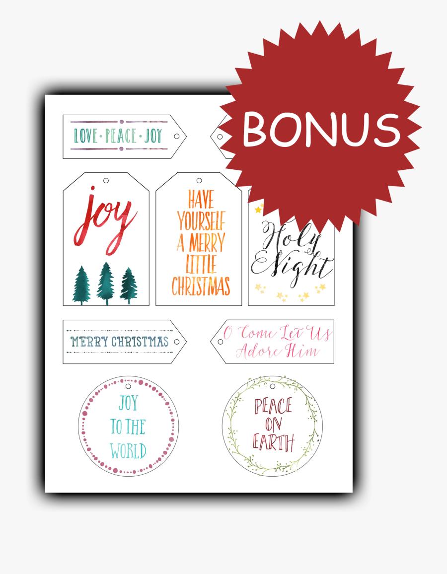 Free Printable Christian Christmas Tags, Transparent Clipart