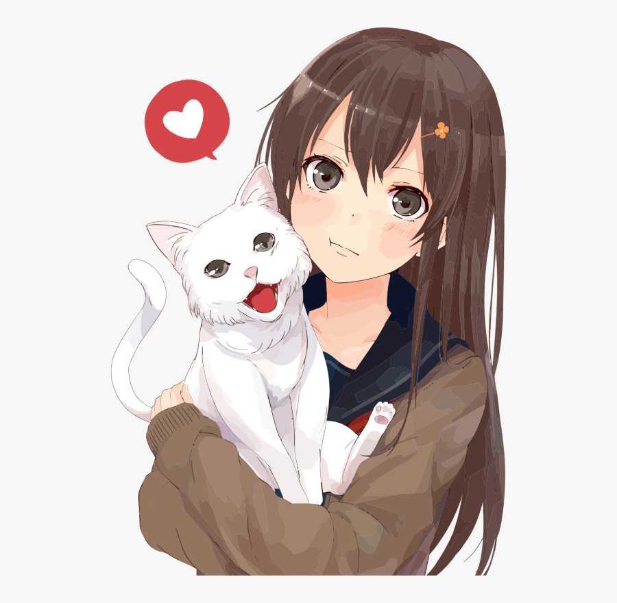 Girl Holding Cat Png - Animated Girl And Cat, Transparent Clipart