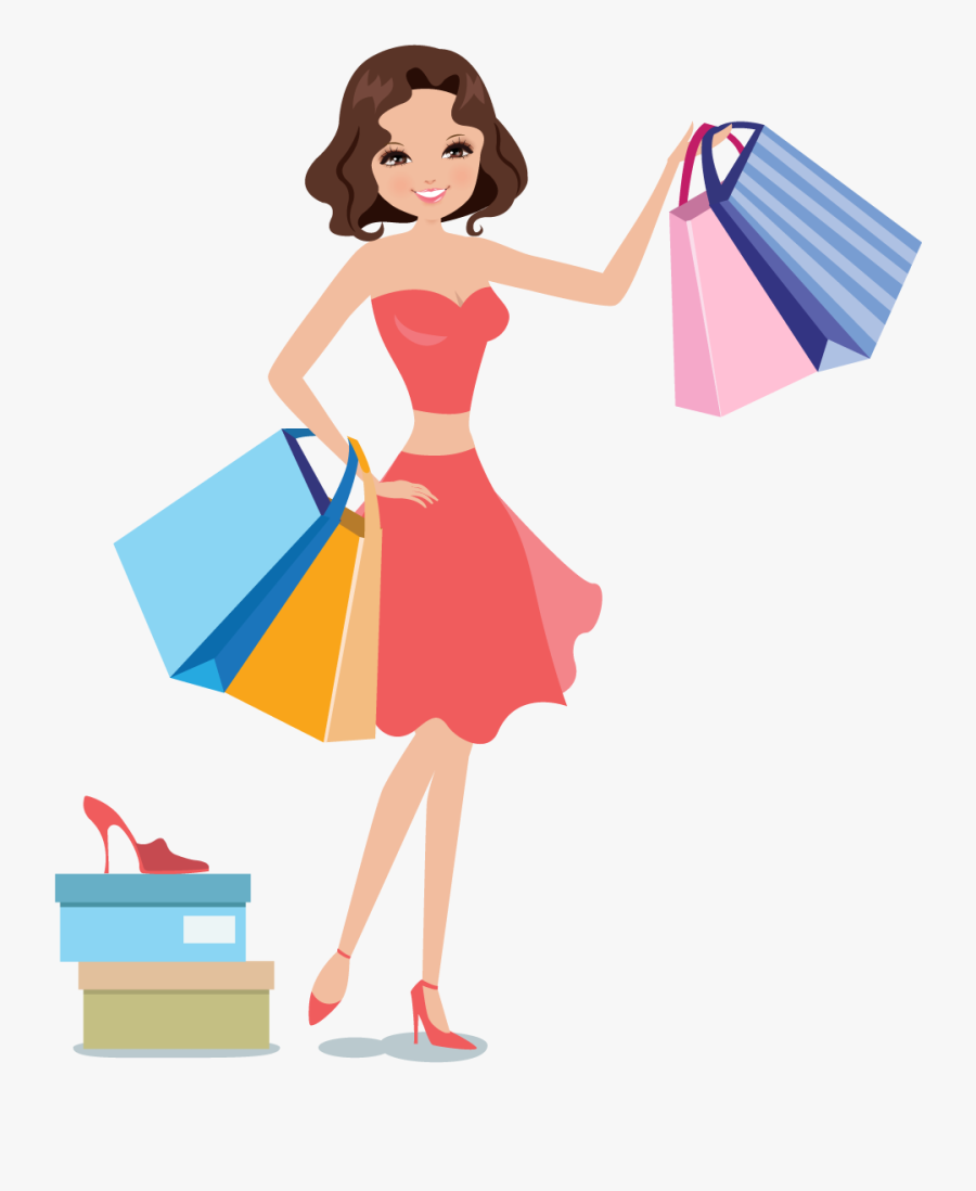 Shopping Woman Icon - Women Shopping Vector Png, Transparent Clipart