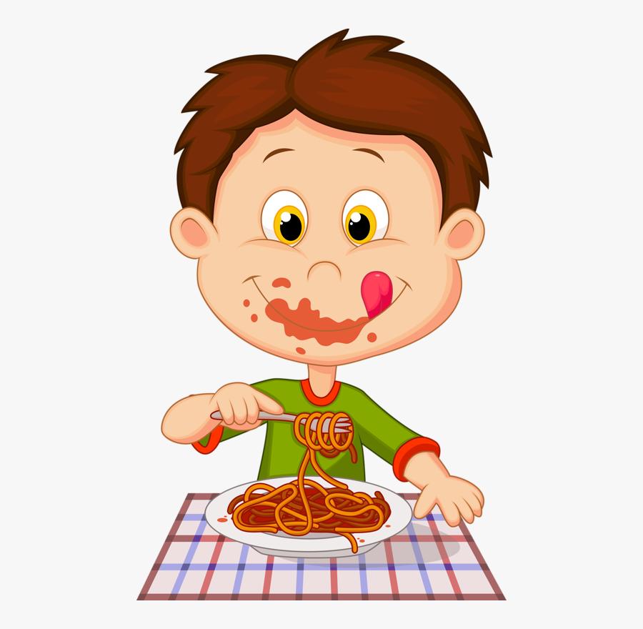 Boy Eating Spaghetti Clipart, Transparent Clipart