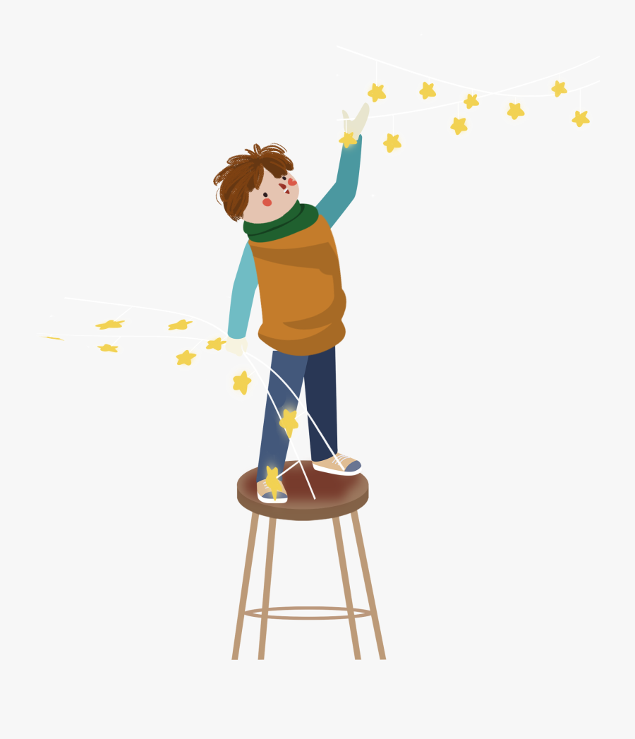 Transparent Boy Sitting In Chair Clipart - Standing On Chair Cartoon, Transparent Clipart