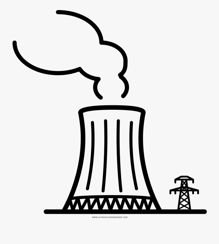 Nuclear Power Plant Coloring Page - Nuclear Power Plant Icon, Transparent Clipart