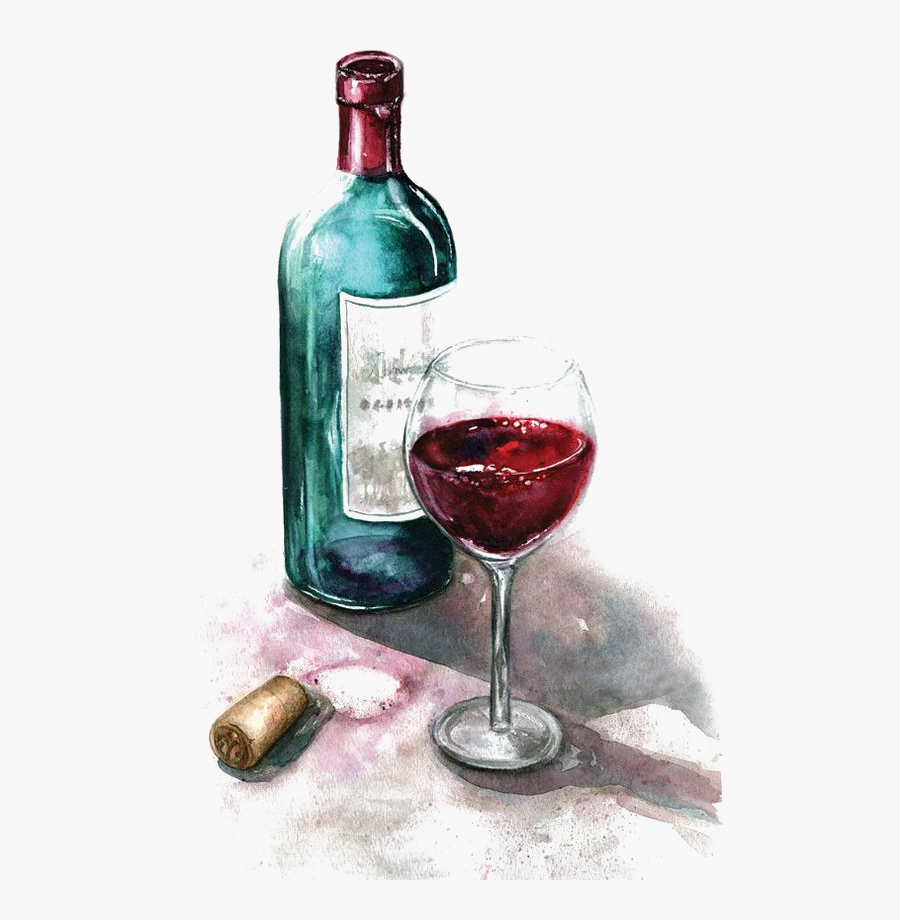 Of Watercolor Glass Painting Red Wine Clipart - Wine ...
