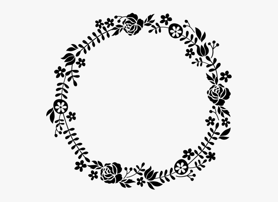 #border #frame #wreath #circle #round #fleaves #floralwreath - Flower Round Border Black And White, Transparent Clipart