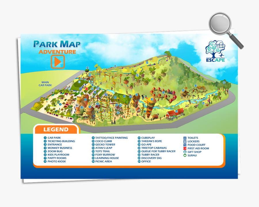 Escape Theme Park Penang Map - Escape Water Park Penang, Transparent Clipart