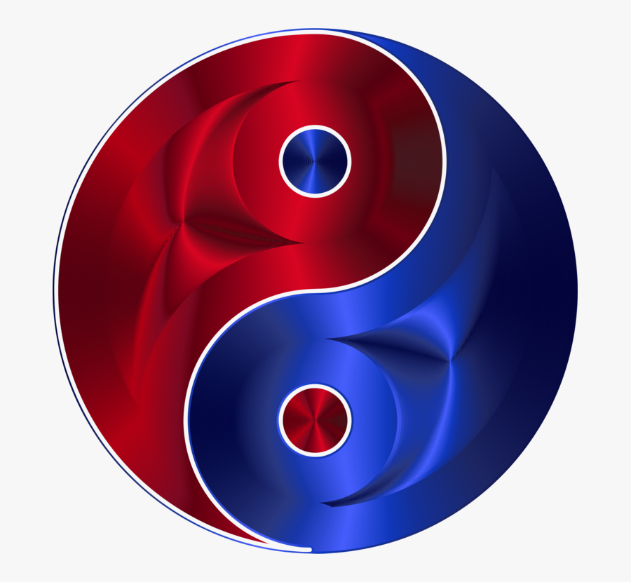 Yin And Yang Symbol Red And Blue, Transparent Clipart