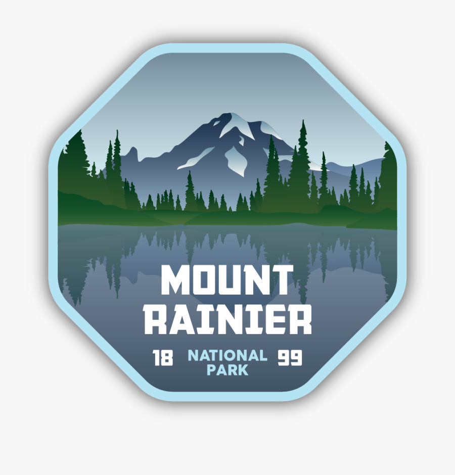 Mount Rainier National Park Sticker, Transparent Clipart