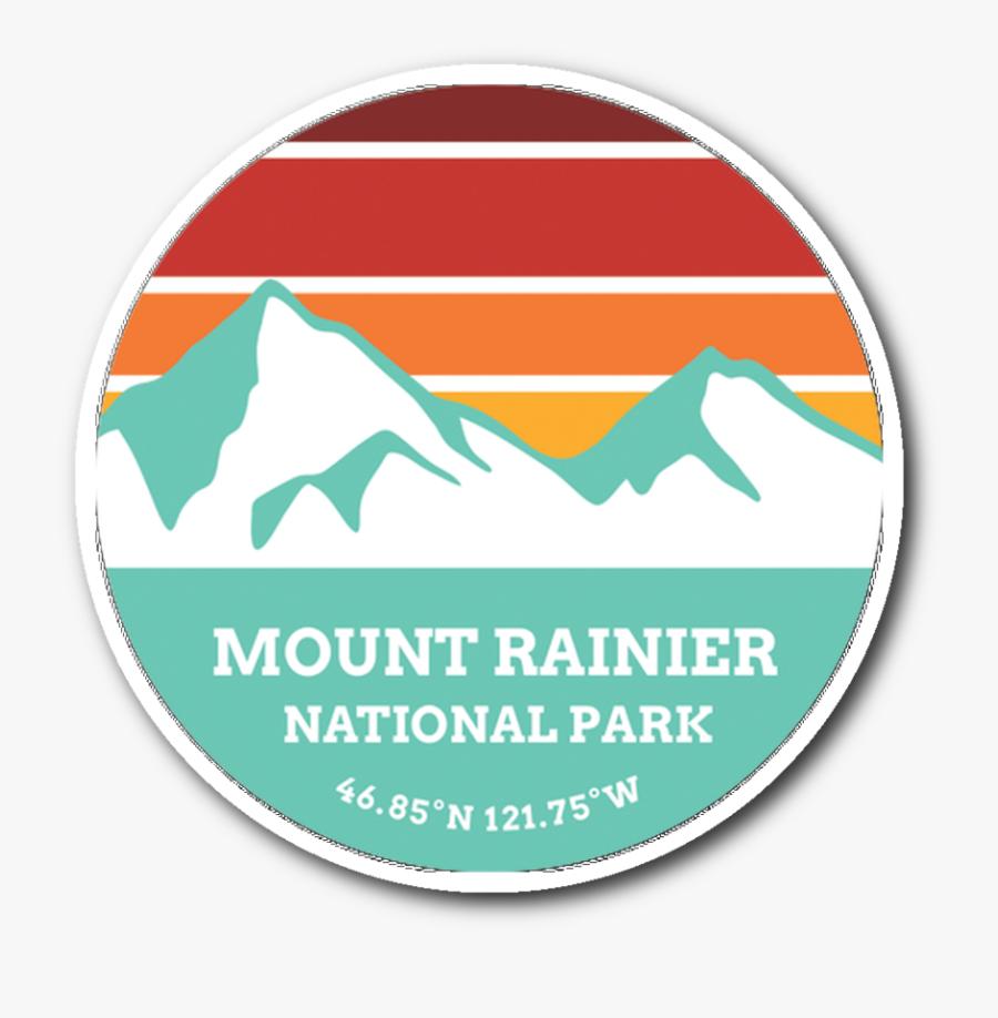 Mount Rainier National Park Retro Mountain Sticker - Volcanic Lassen National Park Badge, Transparent Clipart