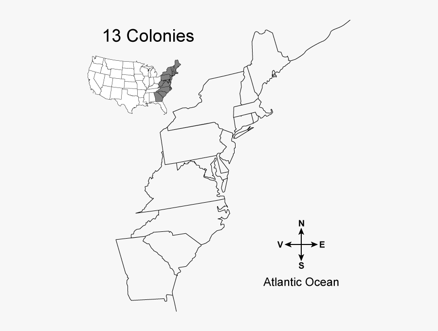 Blank Map Of The 13 Colonies, Transparent Clipart