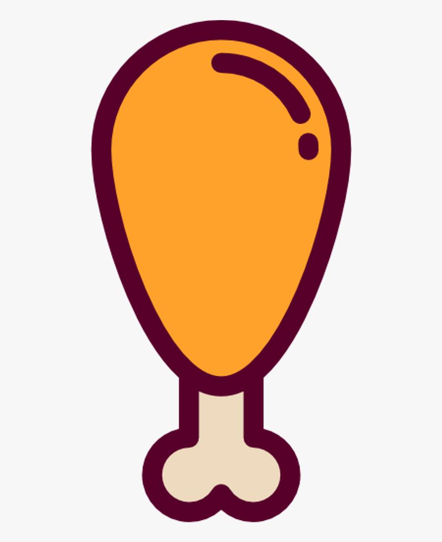 Interesting Aesthetic Food Friedchicken Emoji Sticker - Vector Chicken Drumstick Png, Transparent Clipart