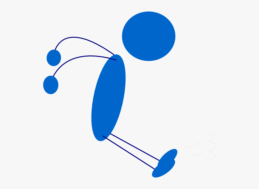 Landing Blue Stick Man Svg Clip Arts - Stick Man Jumping, Transparent Clipart