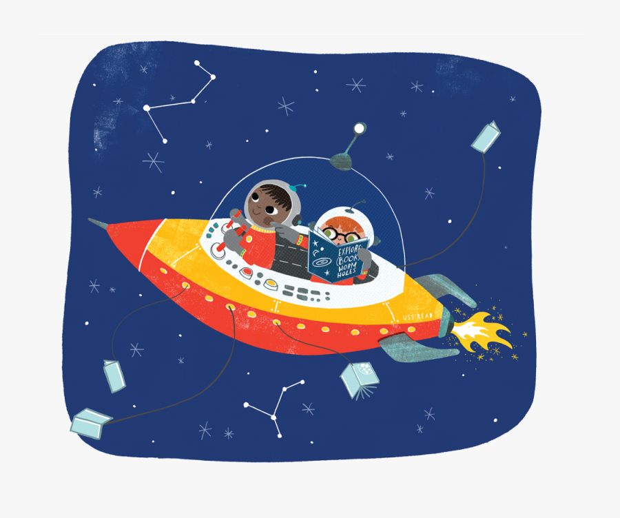 Two Children Exploring The Universe In A Space Ship - Summer Reading 2019 A Universe Of Stories, Transparent Clipart