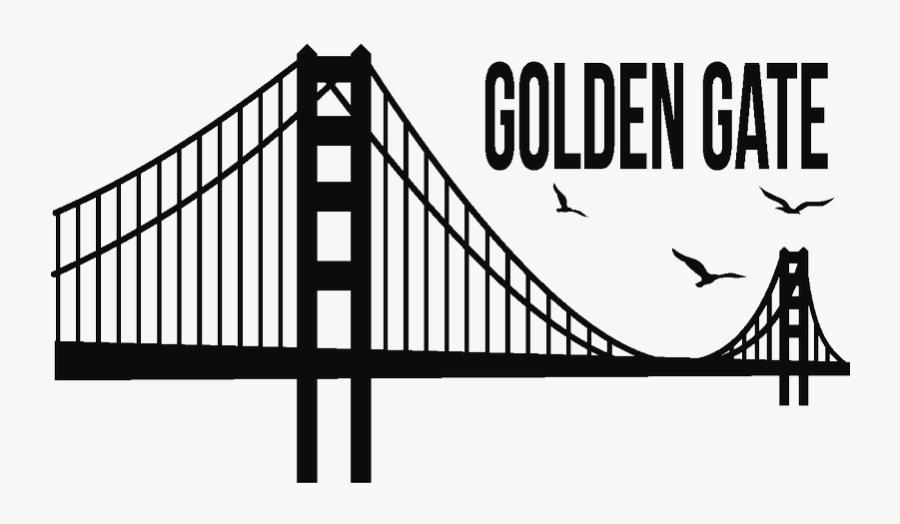 Golden Gate Bridge Sticker Silhouette - Golden Gate Bridge Silhouette Png, Transparent Clipart
