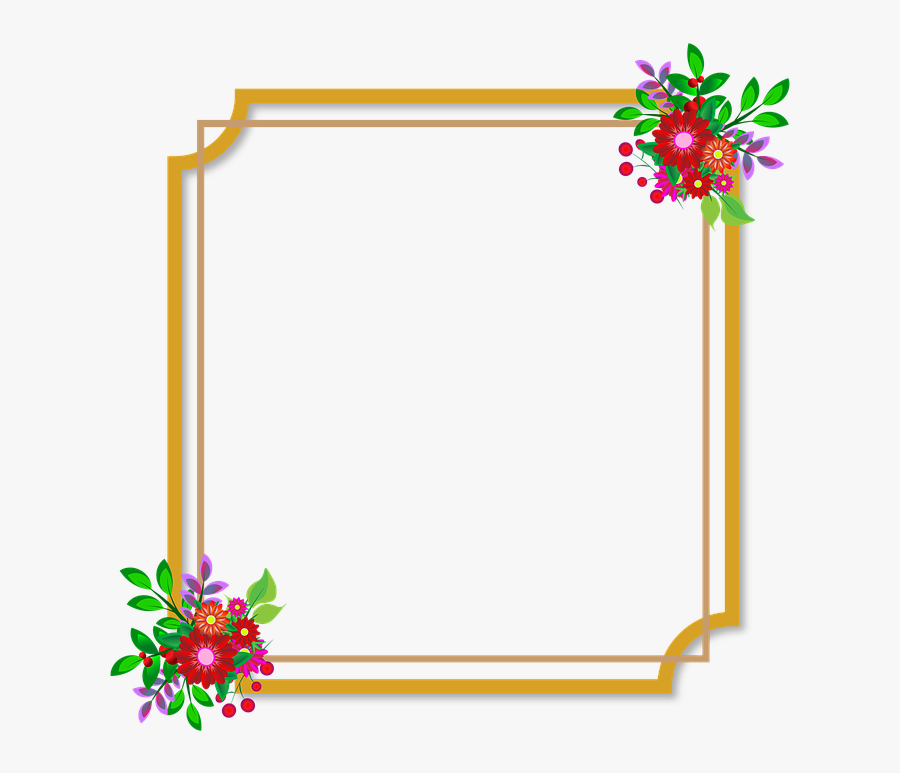 Photo Frame, Flowers, Wedding, Love, Happiness, Style - Flowers Frame Frame Png Border Design, Transparent Clipart