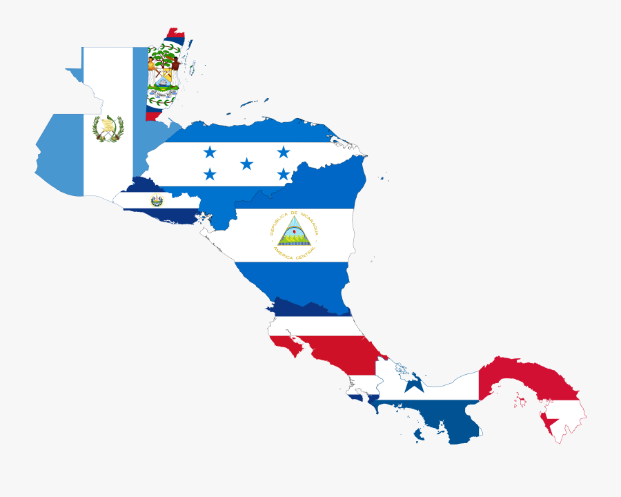 Central America Map With Flags, Transparent Clipart
