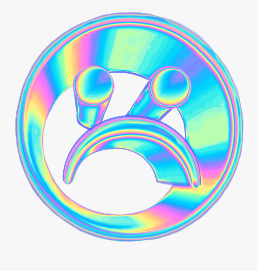 Holo Frown Emoji Face Smileyface Holographic 3d Vaporwa - Holographic Sad Face, Transparent Clipart