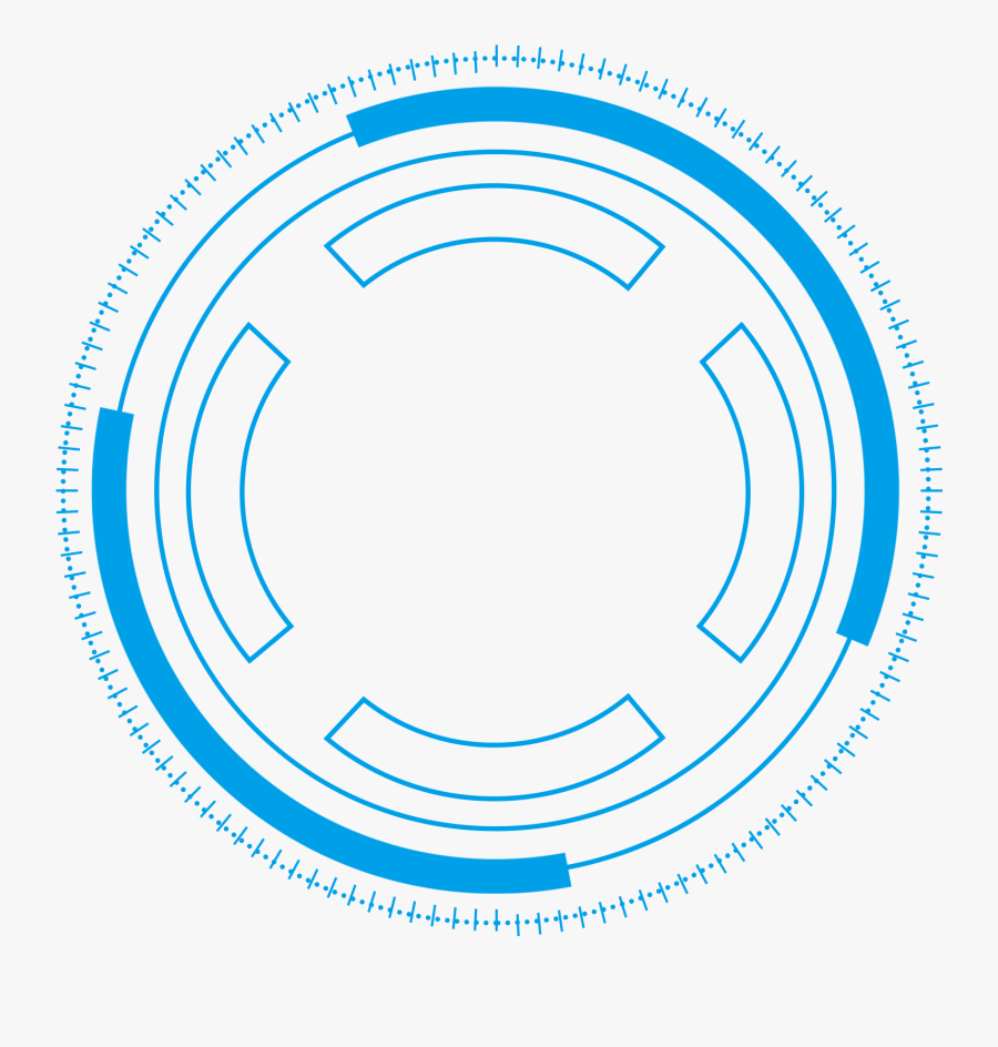 Technology Border Blue Simple Lines Png And Psd - Blue Futuristic Circle Png, Transparent Clipart