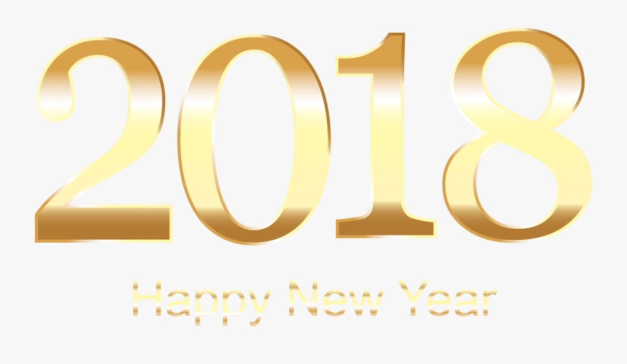 2018 Gold Happy New Year Transparent Png Clip Art - Poster, Transparent Clipart