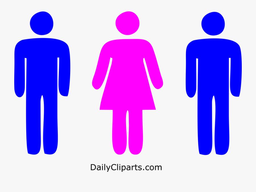 2 Men 1 Woman Icon Image - Male Female Toilet Symbols, Transparent Clipart