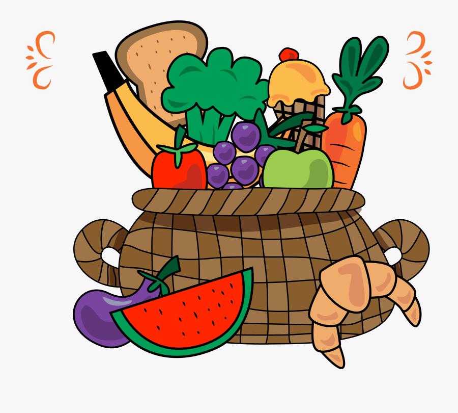 Fruit Vegetable Basket - Cartoon Fruits And Vegetables In A Basket, Transparent Clipart