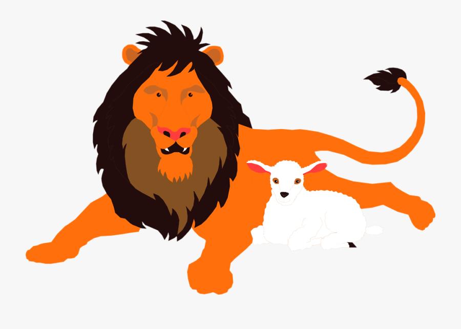 Lion And Lamb Png Clip Art, Transparent Clipart