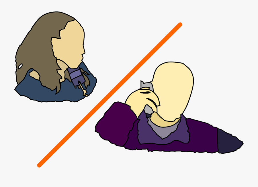 Two People Talking On The Phone Clipart, Transparent Clipart