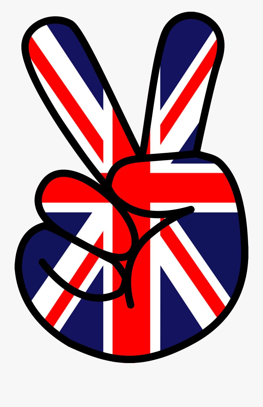 Union Jack Peace Sign, Transparent Clipart