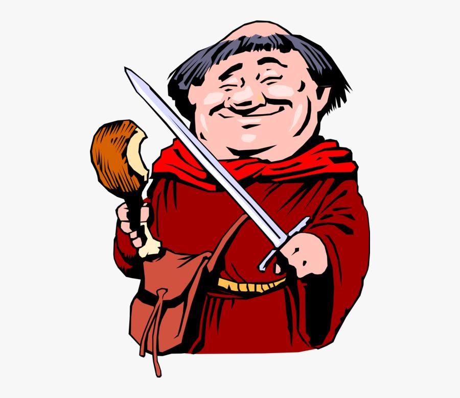 """Vector Illustration Of Robin Hood""""s Friar Tuck Enjoys - Friar Tuck Turkey Leg, Transparent Clipart"""