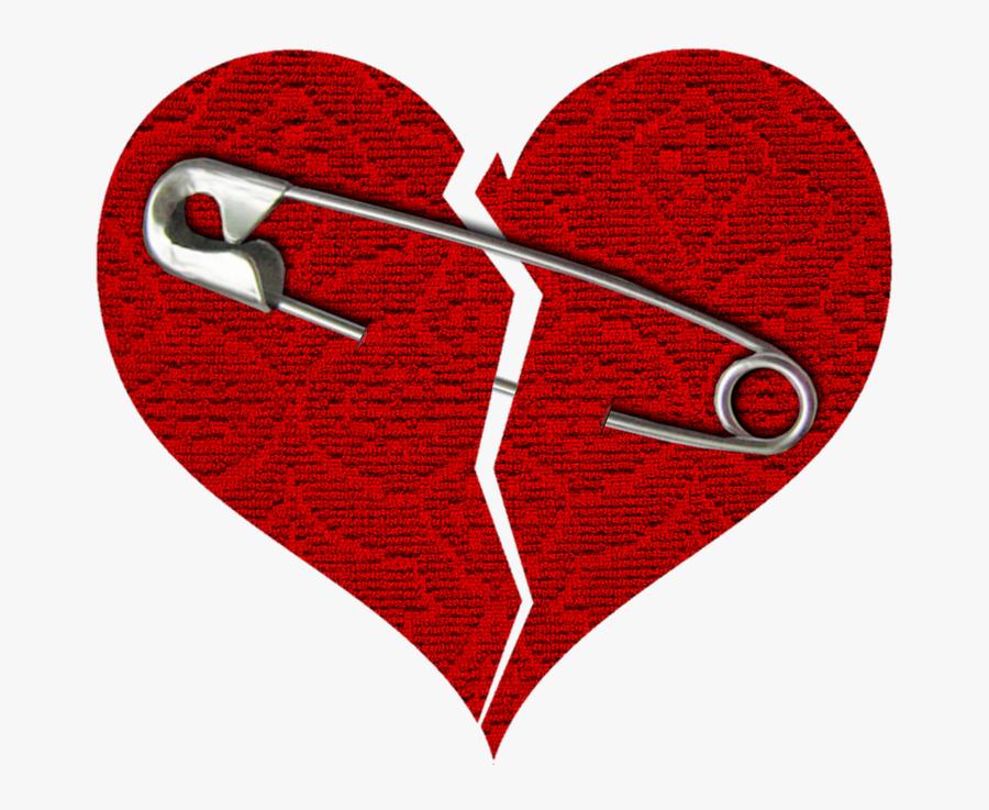 Heart, Broken, Red, Safety Pin, Crack - Clear Background Broken Heart Png, Transparent Clipart
