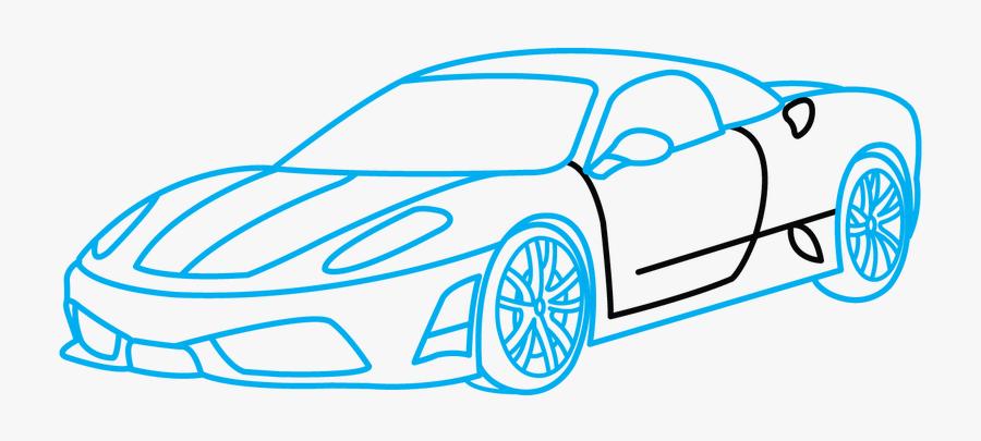 Drawn Ferrari Sports Car - Sports Car Drawing Easy, Transparent Clipart