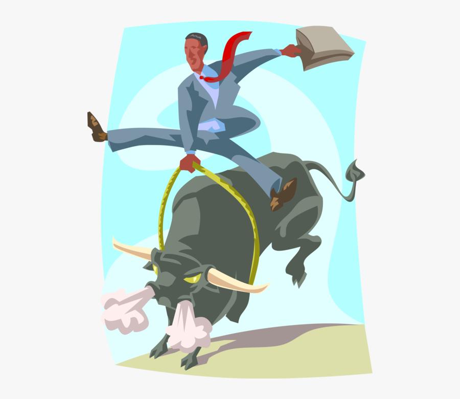 Vector Illustration Of Businessman Bull Rider, Wall - Bull Rider Stock Market, Transparent Clipart
