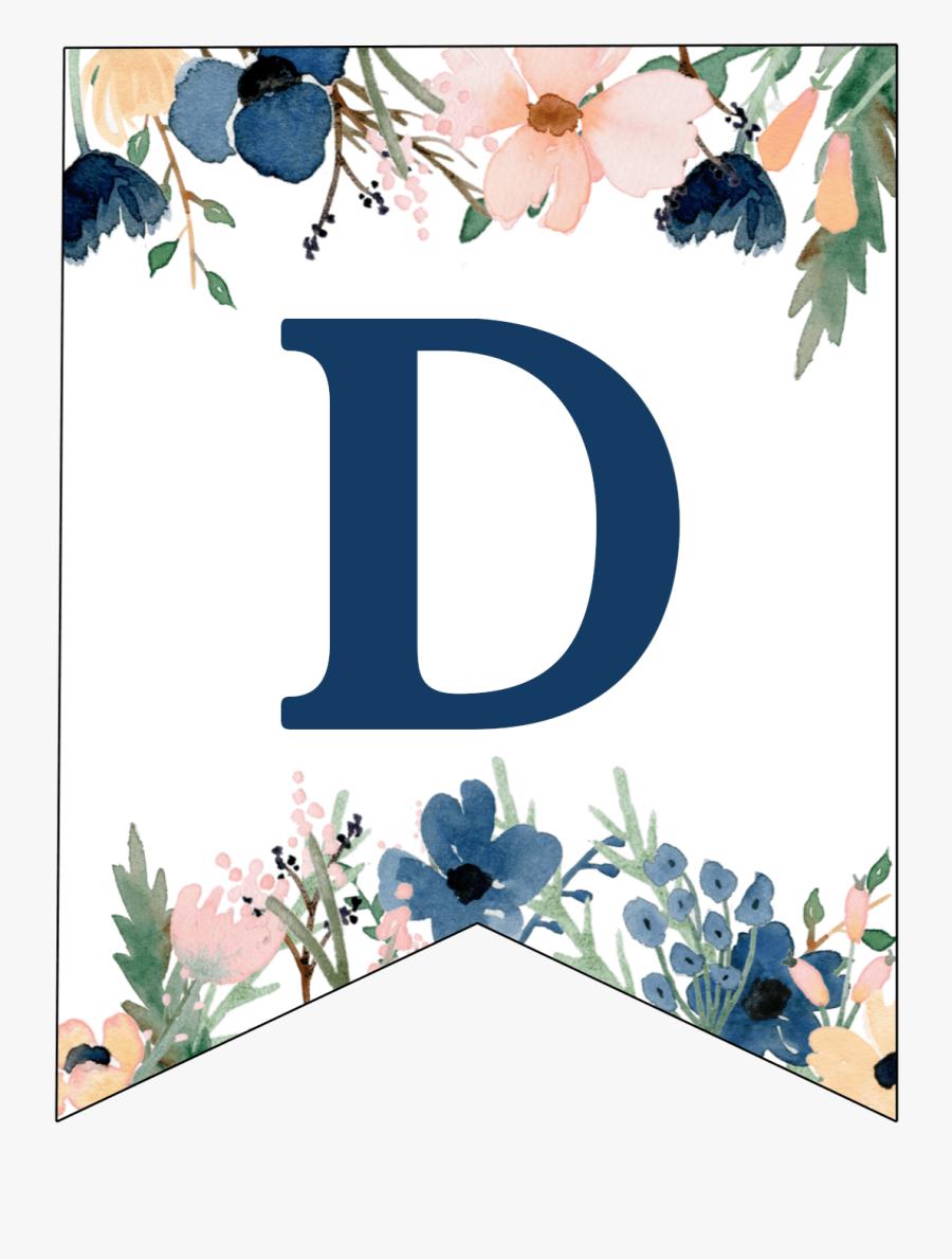 Free Printable Floral Banner Letters, Transparent Clipart