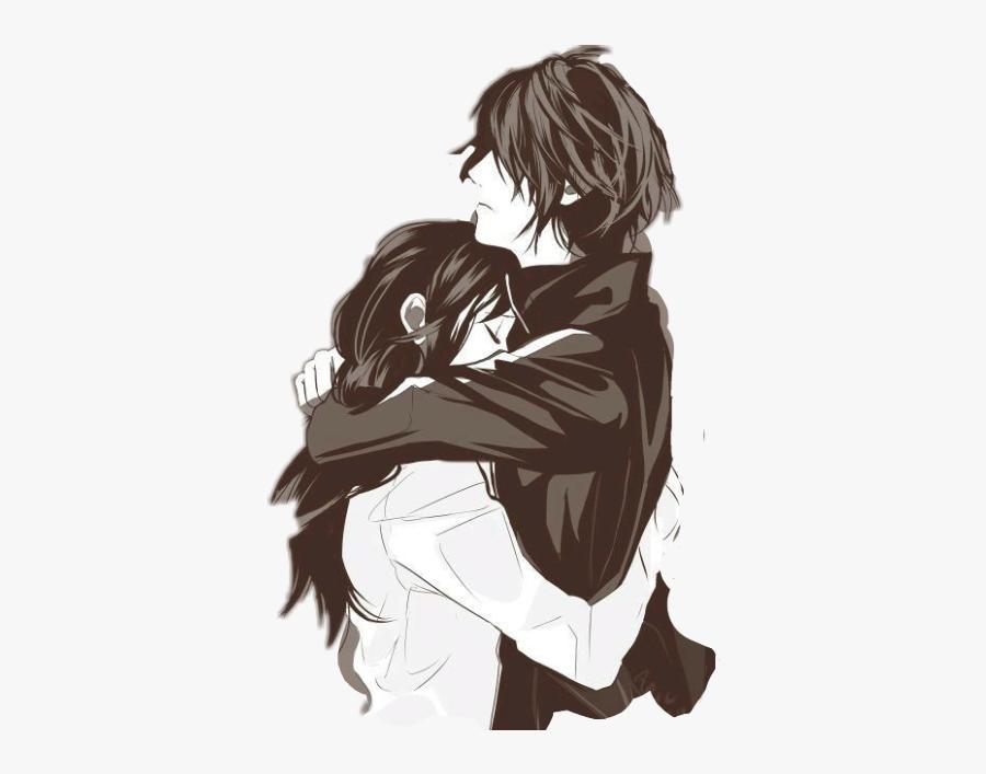 #hugs #couple #friends #blackandwhite - Carta De Amor De Anime, Transparent Clipart