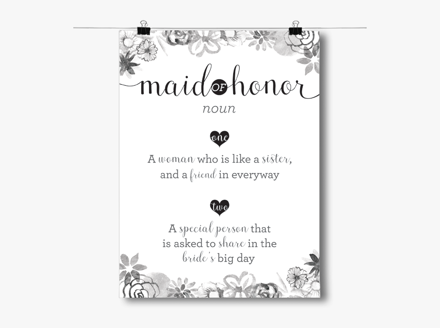 Bridesmaid Definition Poster - Maid Of Honor Noun Definition, Transparent Clipart
